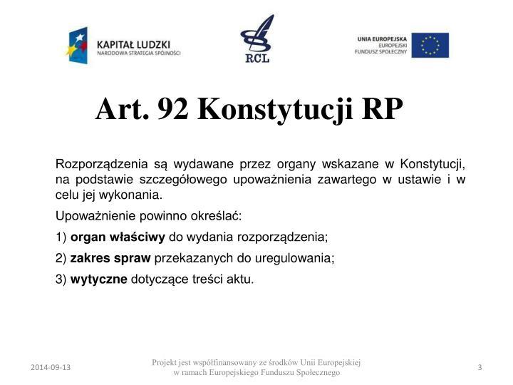 Art 92 konstytucji rp
