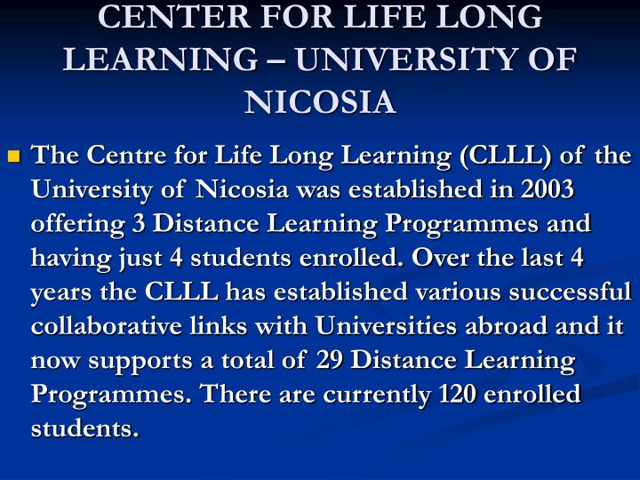 CENTER FOR LIFE LONG LEARNING – UNIVERSITY OF NICOSIA