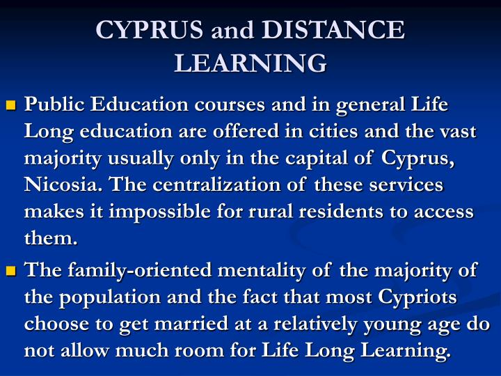 CYPRUS and DISTANCE LEARNING