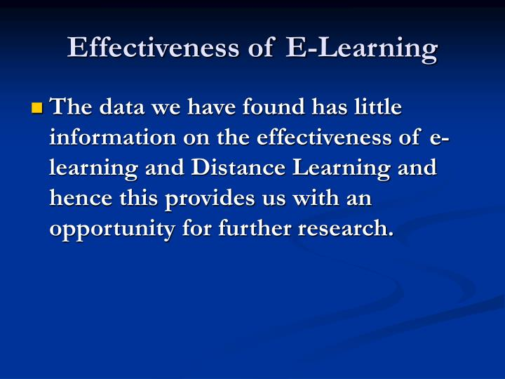Effectiveness of E-Learning