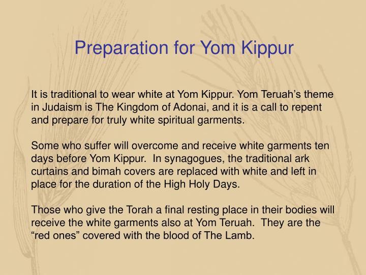 Preparation for Yom Kippur