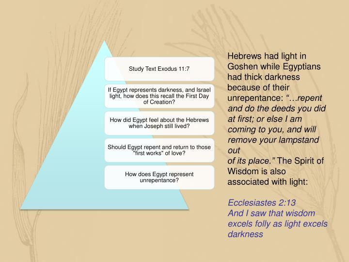 Hebrews had light in Goshen while Egyptians