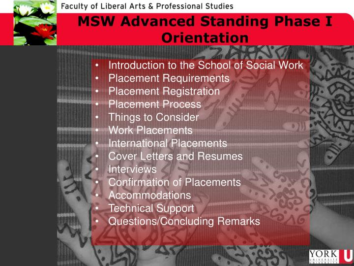 Msw advanced standing phase i orientation