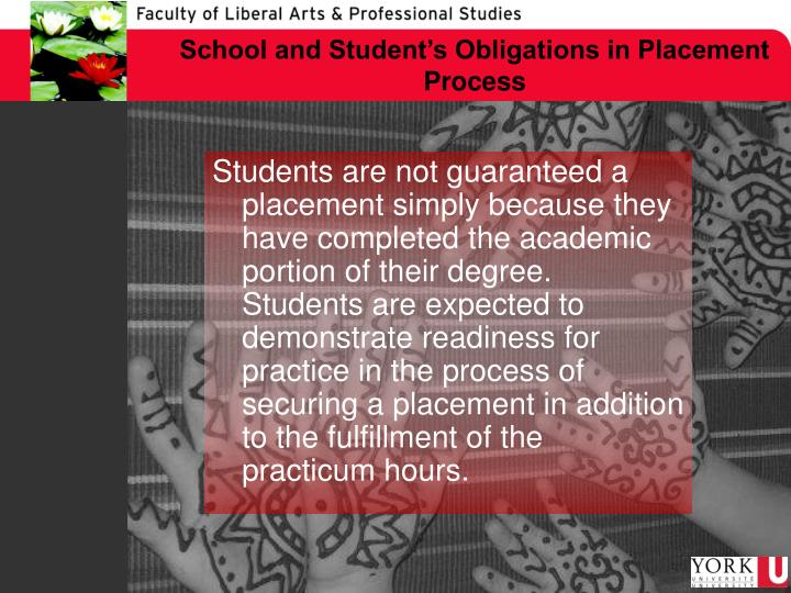 School and Student's Obligations in Placement Process