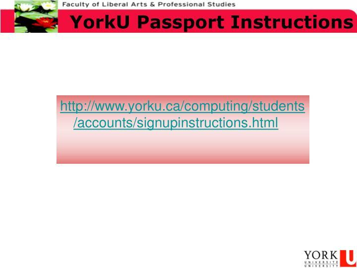 YorkU Passport Instructions