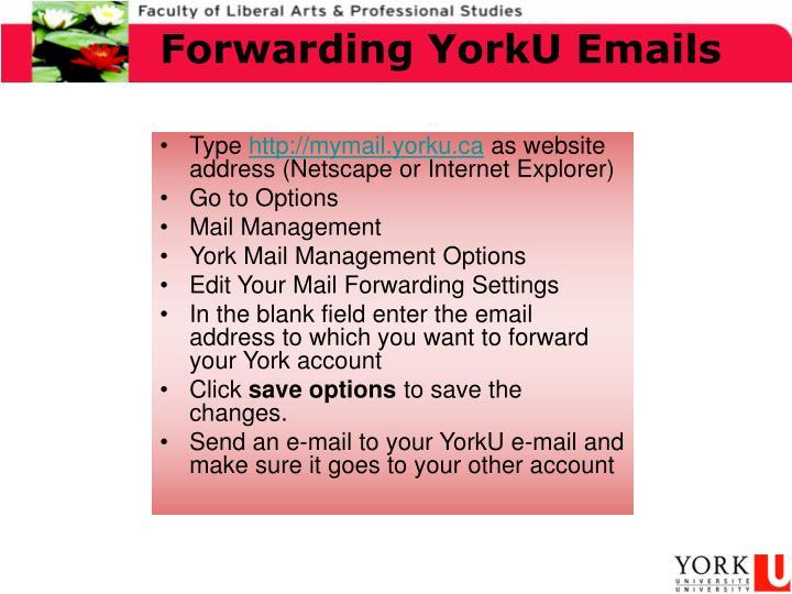 Forwarding YorkU Emails