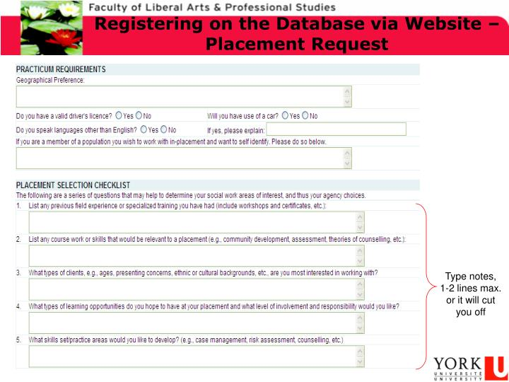 Registering on the Database via Website – Placement Request