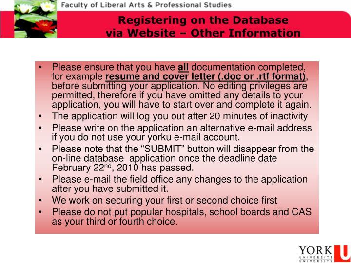 Registering on the Database
