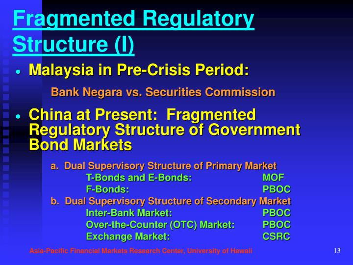Fragmented Regulatory Structure (I)