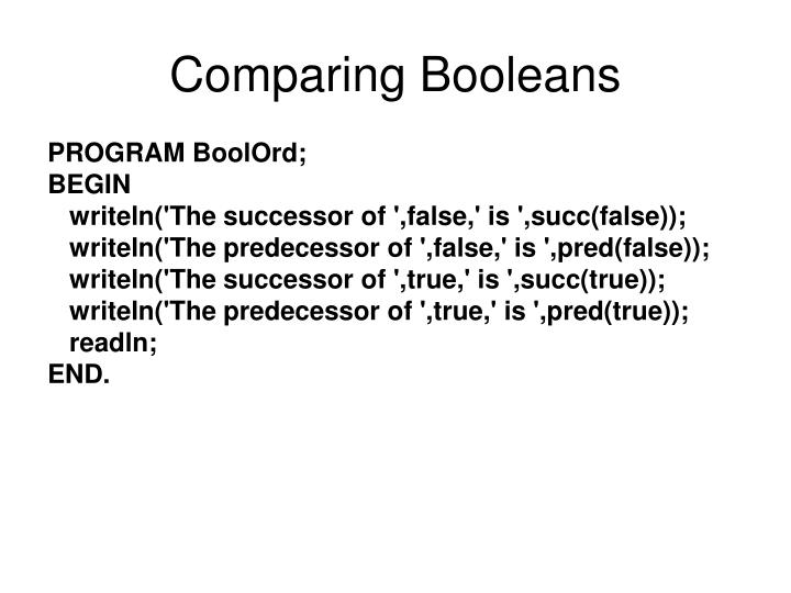 Comparing Booleans