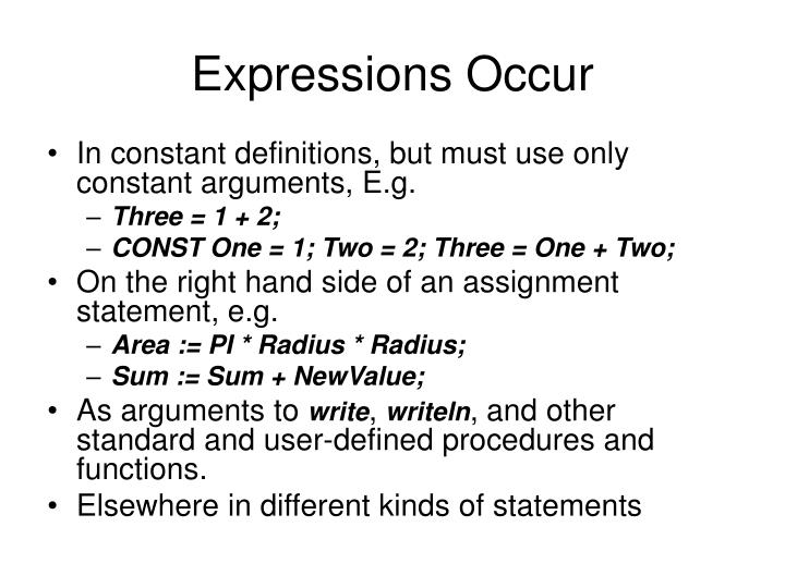 Expressions Occur