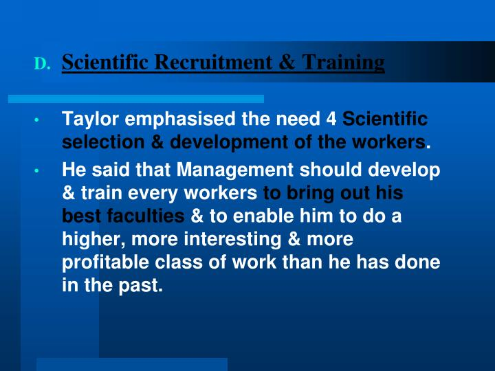 Scientific Recruitment & Training