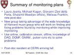 summary of monitoring plans