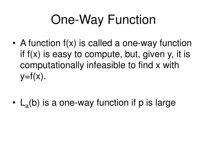 One way function