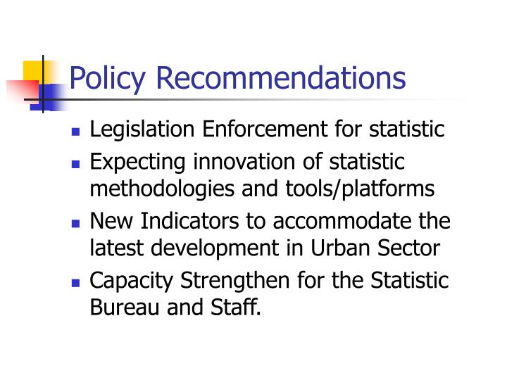 Policy Recommendations