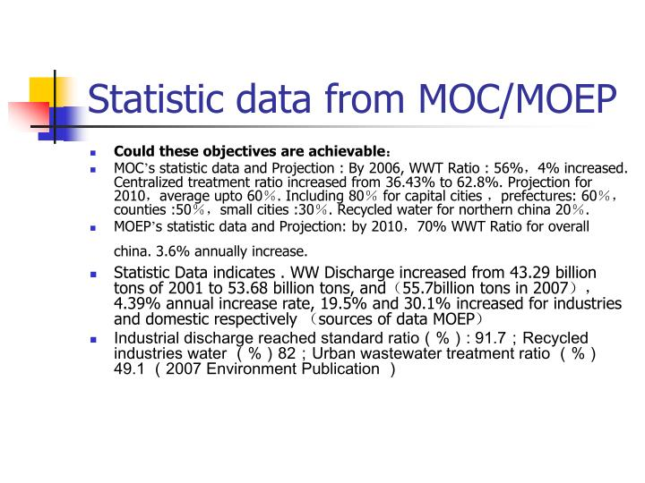 Statistic data from MOC/MOEP