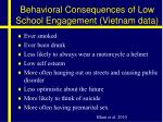 behavioral consequences of low school engagement vietnam data