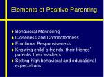 elements of positive parenting