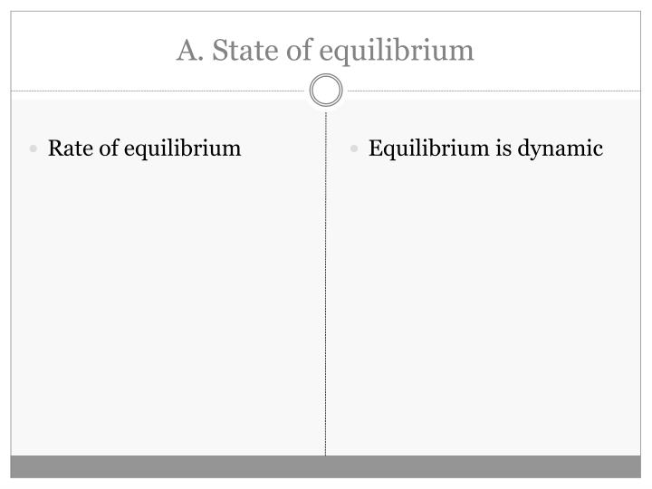 A state of equilibrium