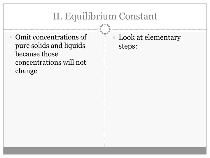 II. Equilibrium Constant