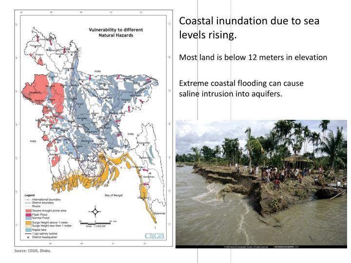 Coastal inundation due to sea levels rising.