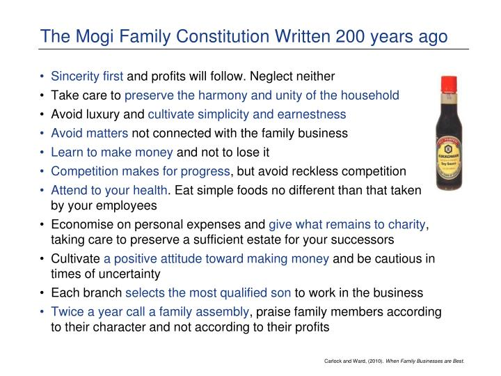 The mogi family constitution written 200 years ago