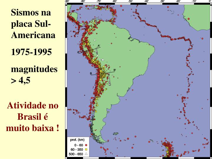 Sismos na placa Sul-Americana