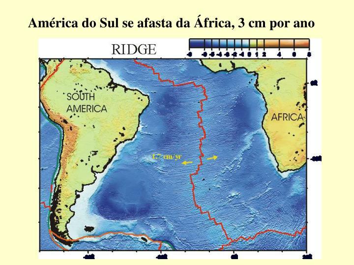 América do Sul se afasta da África, 3 cm por ano