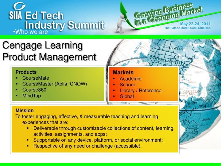 Cengage Learning Product Management