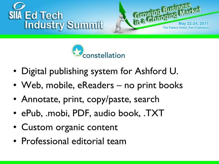 Digital publishing system for Ashford U.