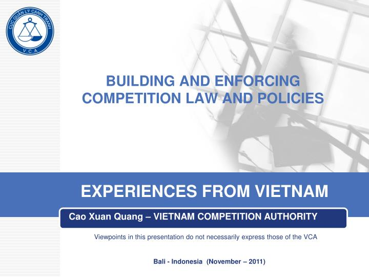 building and enforcing competition law and policies n.