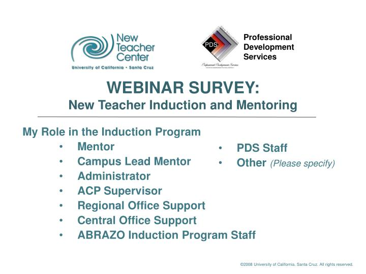PPT - My Role in the Induction Program Mentor Campus Lead Mentor