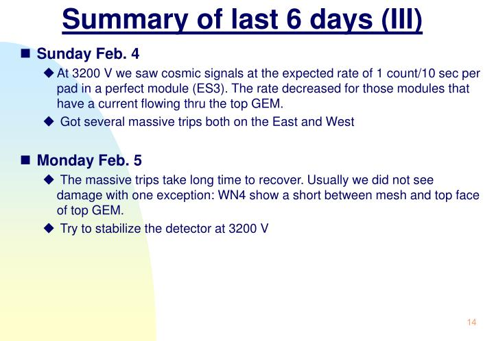Summary of last 6 days (III)