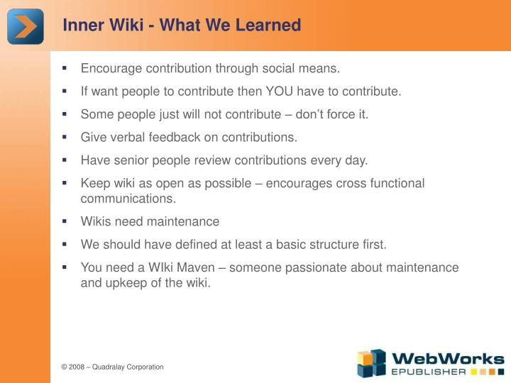 Inner Wiki - What We Learned