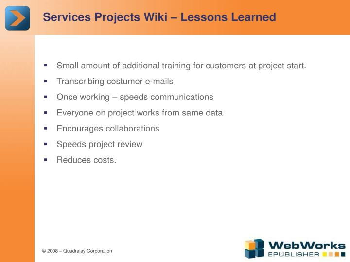 Services Projects Wiki – Lessons Learned