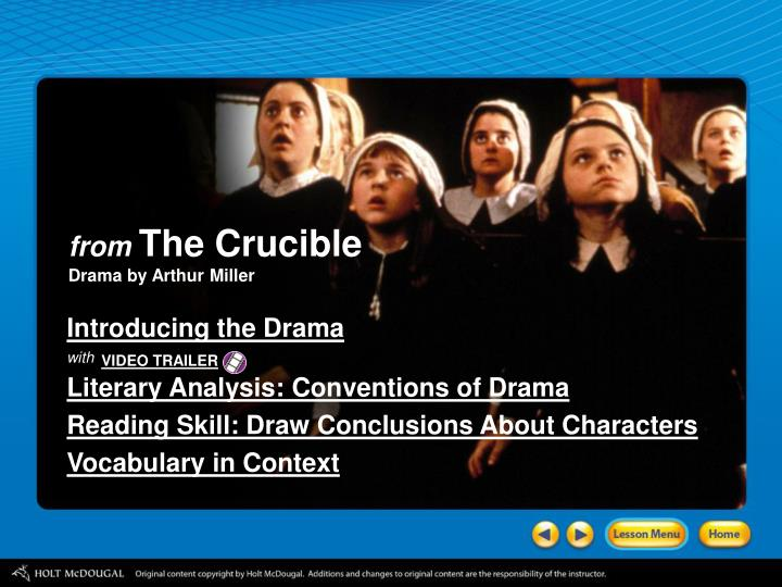 a literary analysis of the characters in the crucible by arthur miller