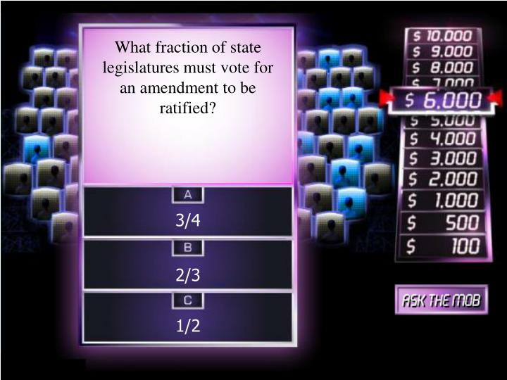 What fraction of state legislatures must vote for an amendment to be ratified?