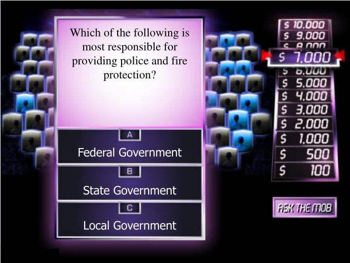 Which of the following is most responsible for providing police and fire protection?