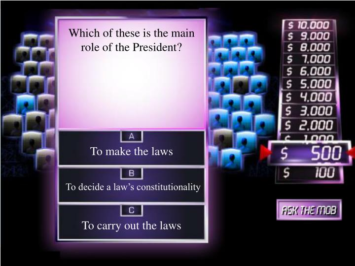 Which of these is the main role of the President?