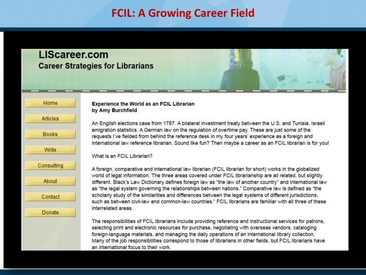 FCIL: A Growing Career Field