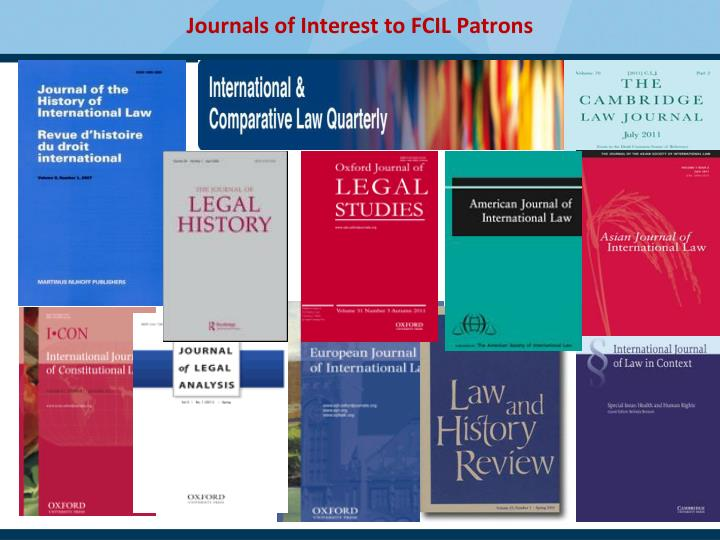Journals of Interest to FCIL Patrons