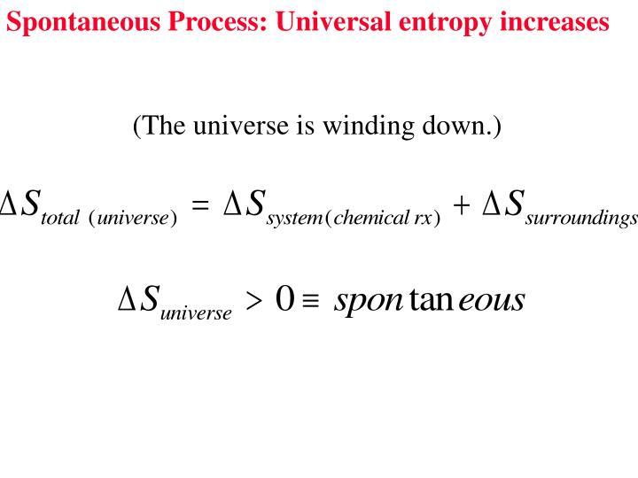 Spontaneous Process: Universal entropy increases