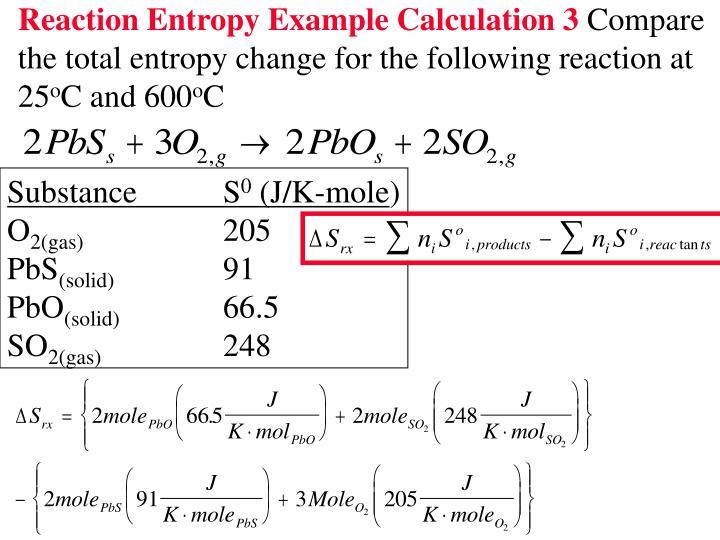 Reaction Entropy Example Calculation 3