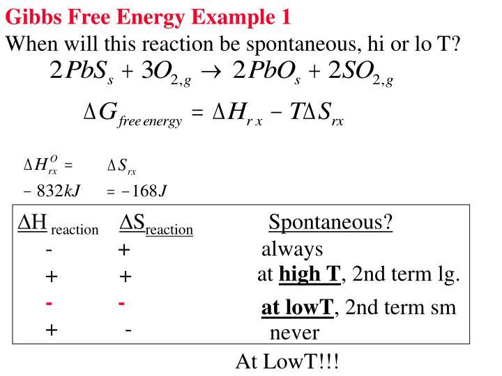 Gibbs Free Energy Example 1