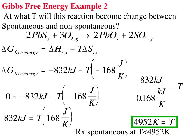 Gibbs Free Energy Example 2