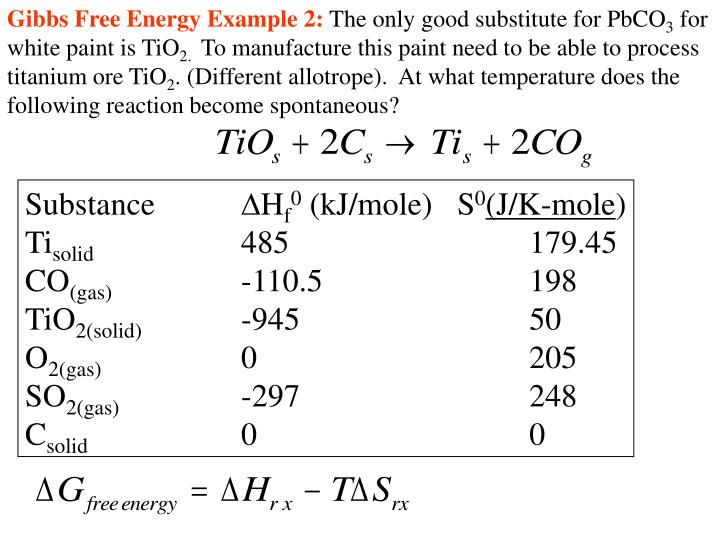 Gibbs Free Energy Example 2: