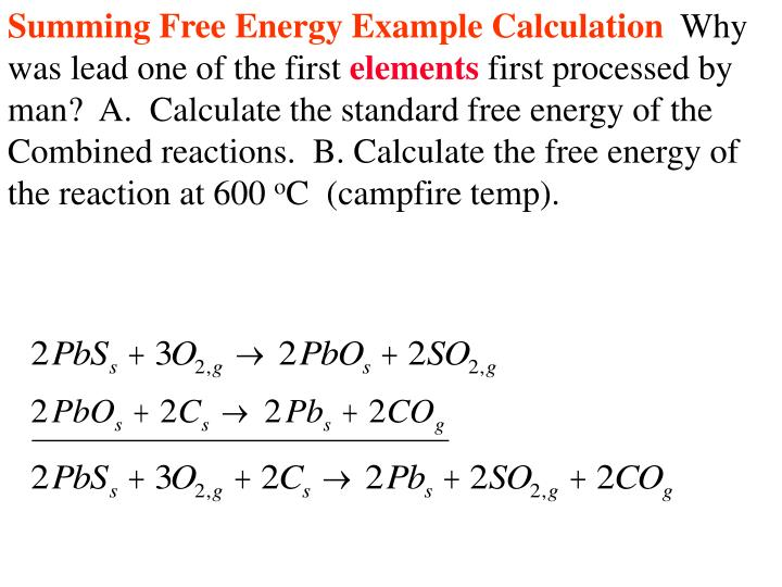 Summing Free Energy Example Calculation