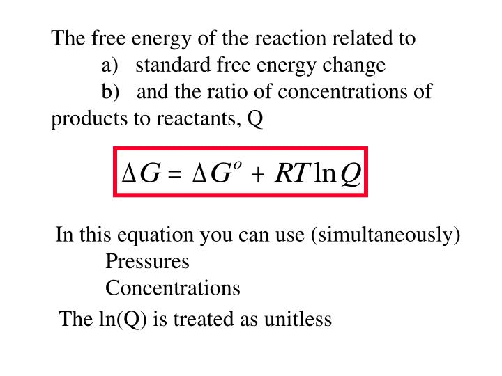 The free energy of the reaction related to