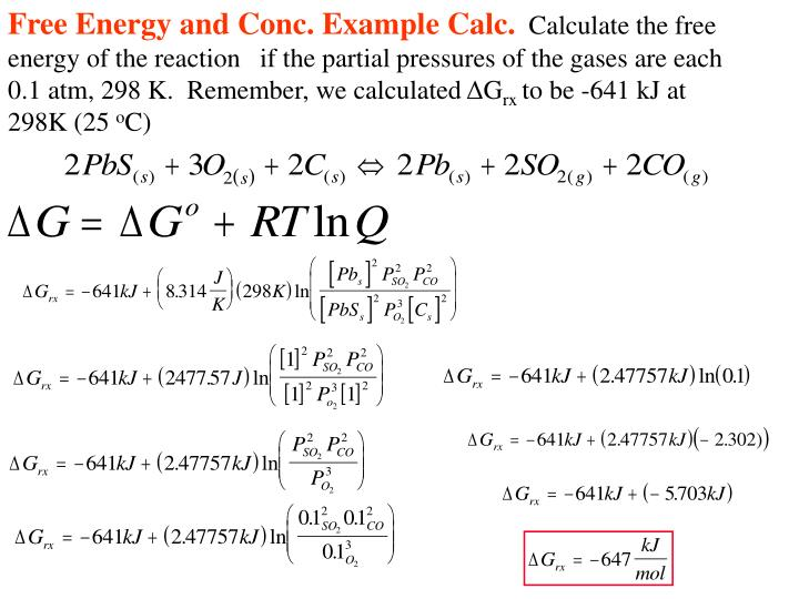 Free Energy and Conc. Example Calc.