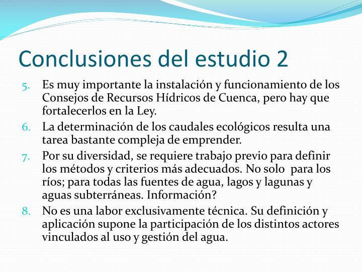 Conclusiones del estudio 2